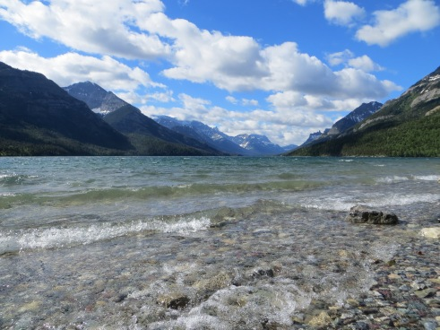 Beautiful Waterton Lake; Sean & Reith took a ferry south across the lake to the start of the trail in Glacier NP.